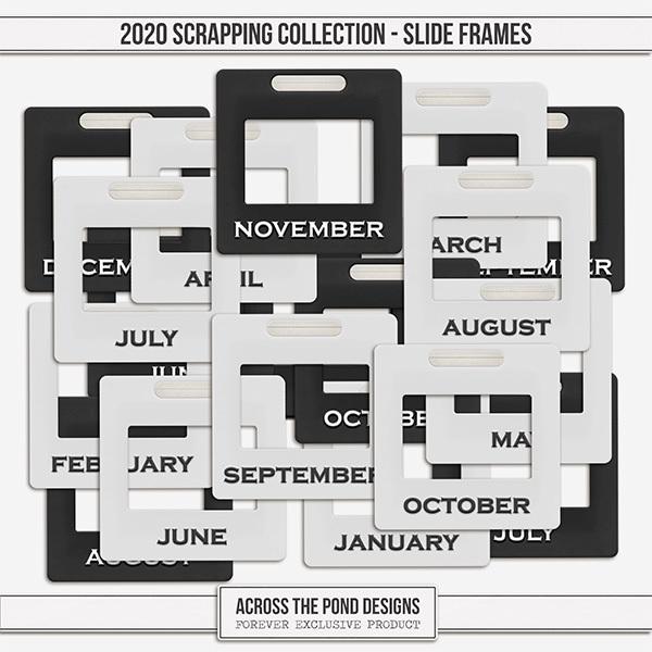 2020 Scrapbooking Collection Slide Frames Digital Art - Digital Scrapbooking Kits