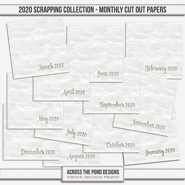 2020 Scrapbooking Collection Monthly CutOut Papers Digital Art - Digital Scrapbooking Kits