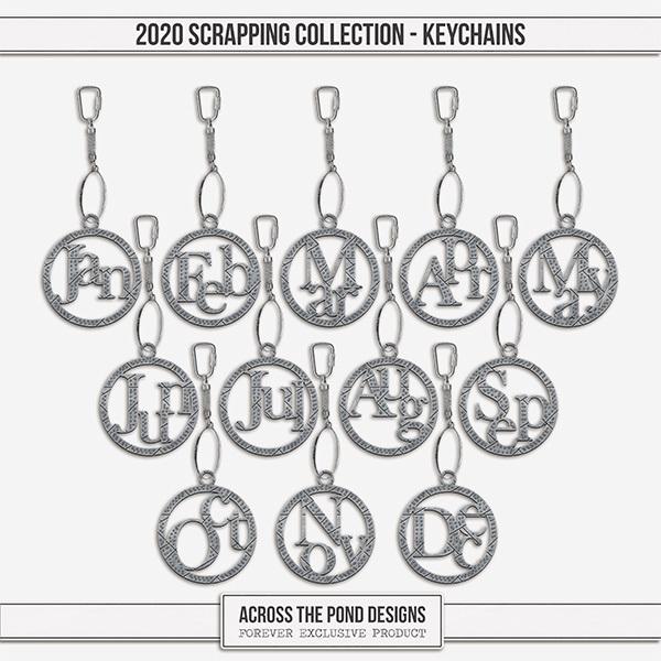 2020 Scrapbooking Collection Keychains Digital Art - Digital Scrapbooking Kits