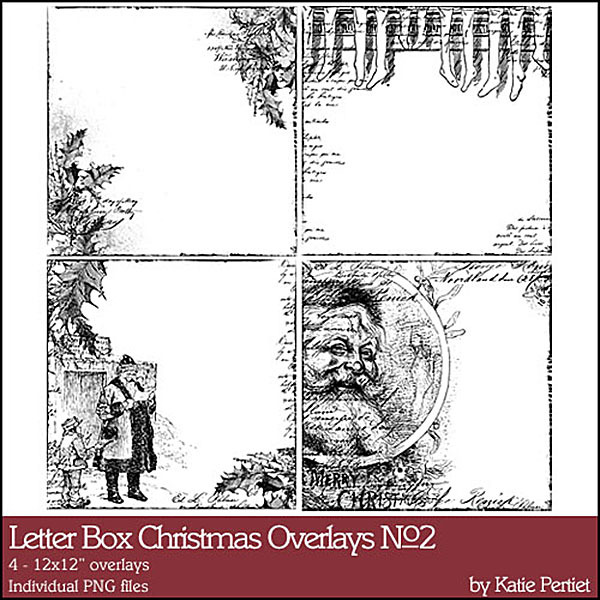 Letter Box Christmas Overlays No. 02 Digital Art - Digital Scrapbooking Kits