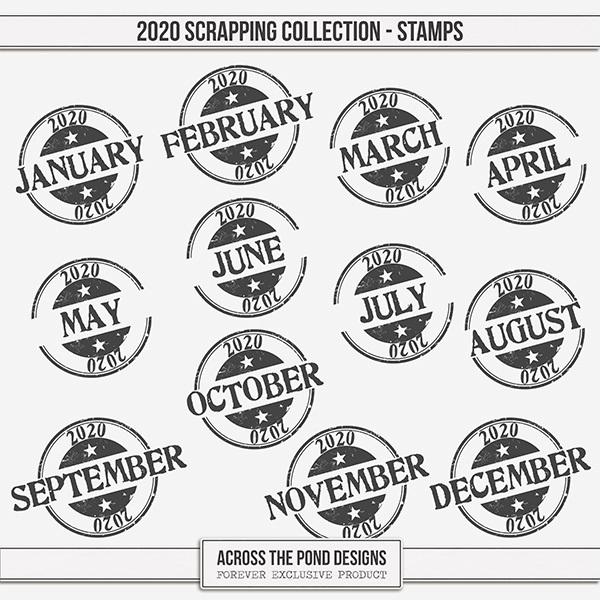 2020 Scrapbooking Collection Stamps Digital Art - Digital Scrapbooking Kits