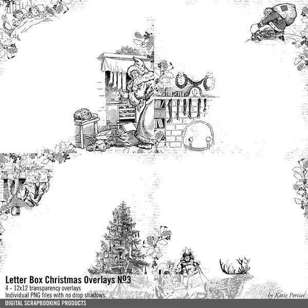 Letter Box Christmas Overlays No. 03 Digital Art - Digital Scrapbooking Kits