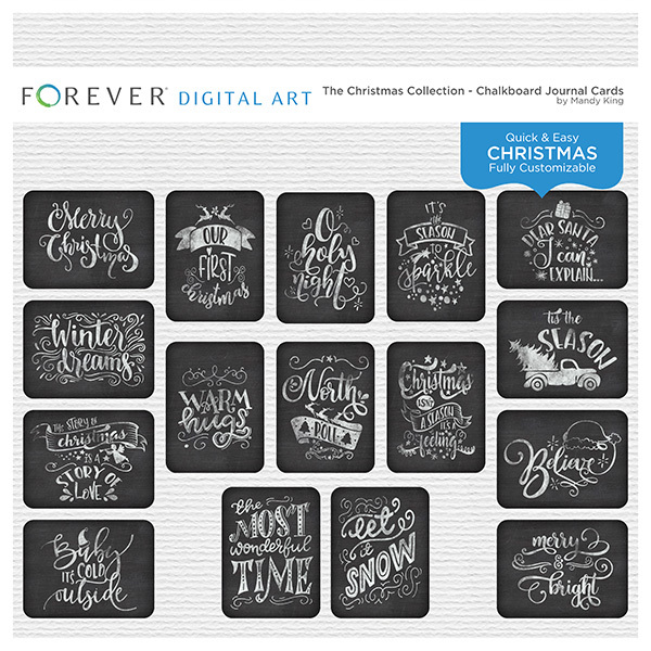 The Christmas Collection - Chalkboard Journal Cards Digital Art - Digital Scrapbooking Kits