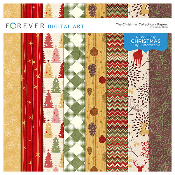 The Christmas Collection - Papers Digital Art - Digital Scrapbooking Kits