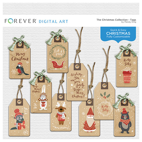 The Christmas Collection - Tags Digital Art - Digital Scrapbooking Kits