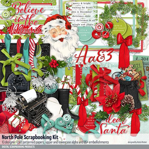 North Pole Scrapbooking Kit Digital Art - Digital Scrapbooking Kits