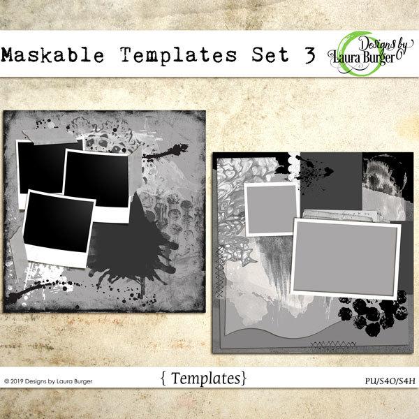 Maskable Templates Set 3 Digital Art - Digital Scrapbooking Kits