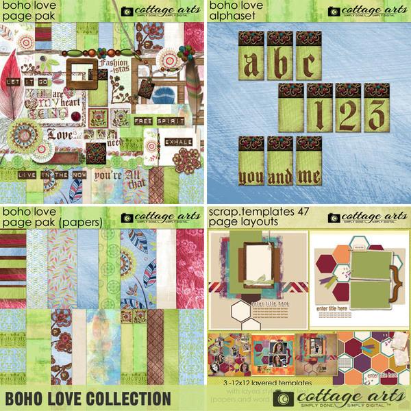 Boho Love Collection Digital Art - Digital Scrapbooking Kits