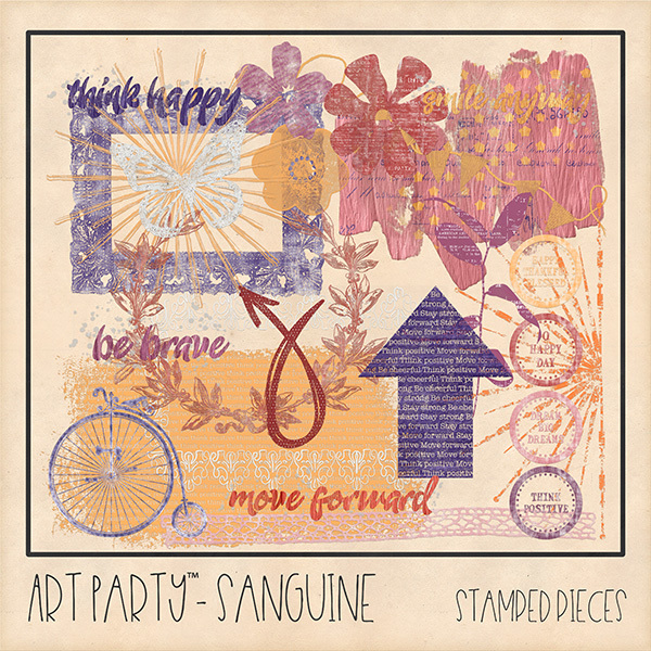 Sanguine Stamped Pieces Digital Art - Digital Scrapbooking Kits