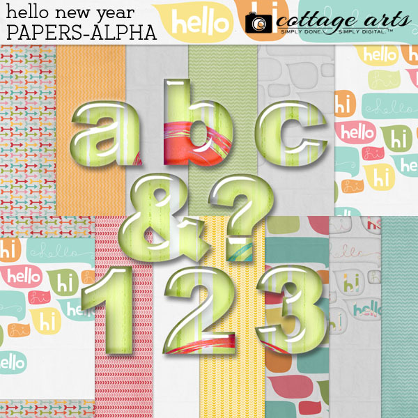 Hello New Year Papers & AlphaSet Digital Art - Digital Scrapbooking Kits