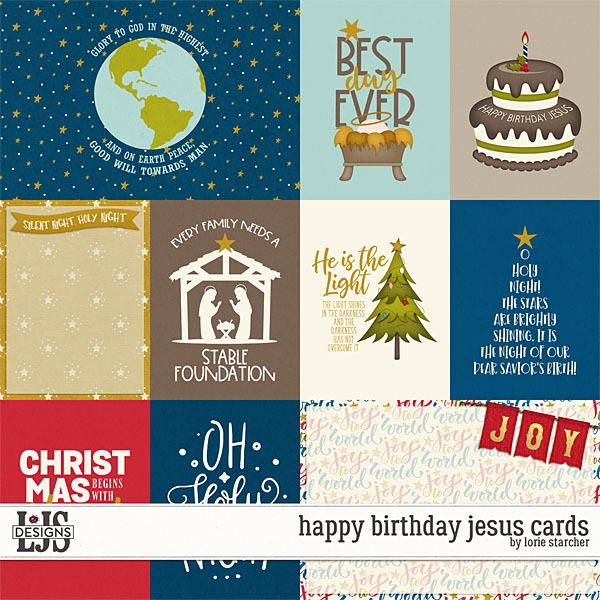 Happy Birthday Jesus Cards Digital Art - Digital Scrapbooking Kits