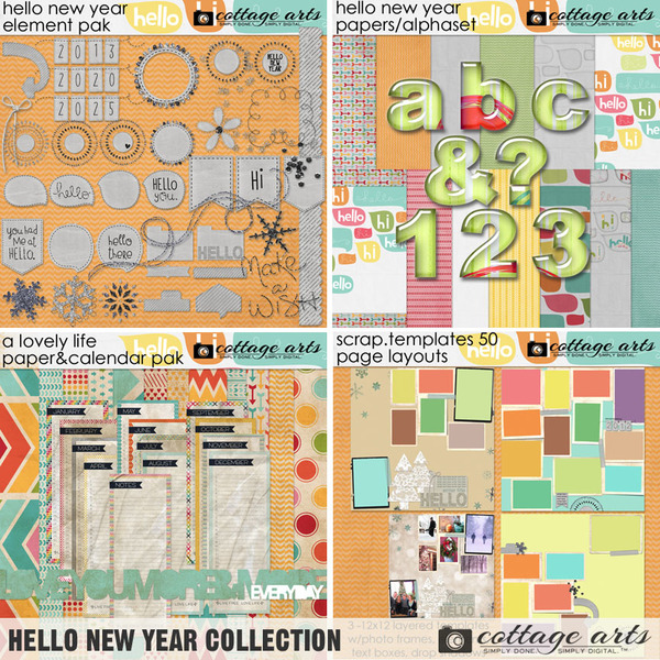 Hello New Year Collection Digital Art - Digital Scrapbooking Kits