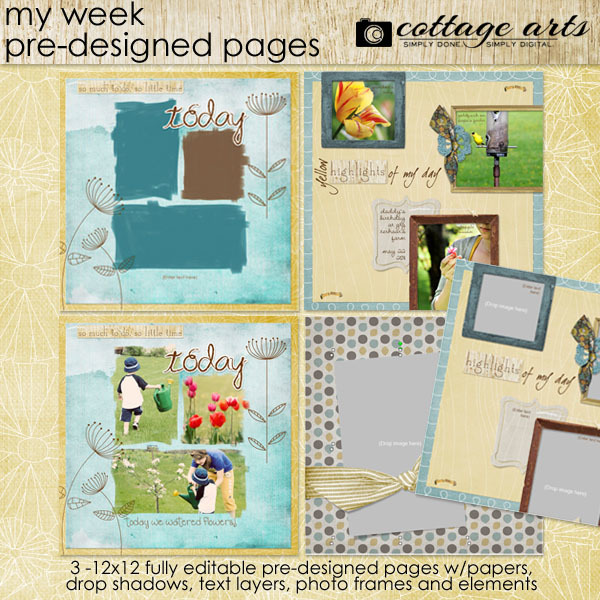 My Week Pre-designed Pages Digital Art - Digital Scrapbooking Kits