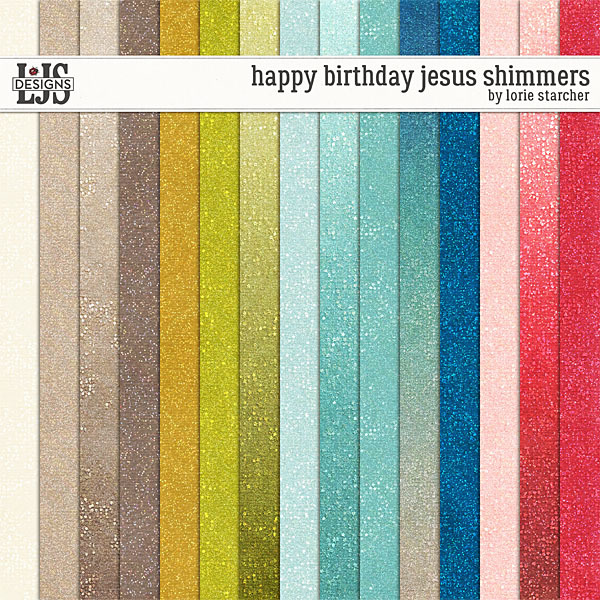 Happy Birthday Jesus Shimmers Digital Art - Digital Scrapbooking Kits
