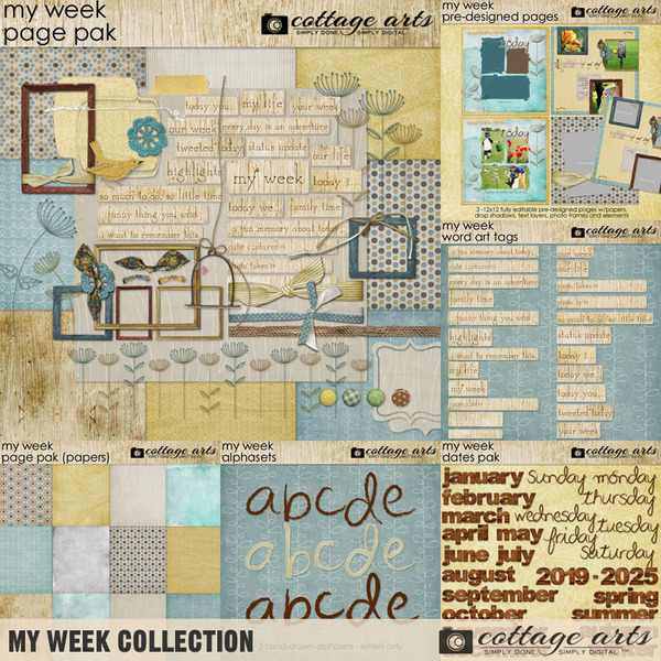 My Week Collection Digital Art - Digital Scrapbooking Kits