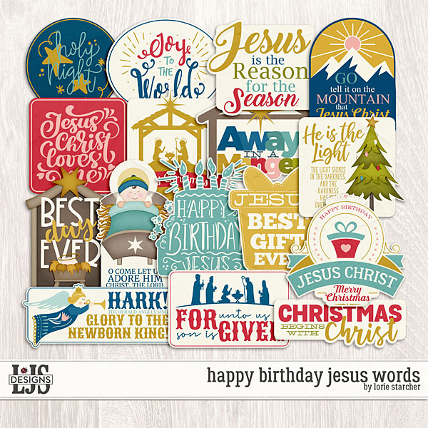 Happy Birthday Jesus Words Digital Art - Digital Scrapbooking Kits
