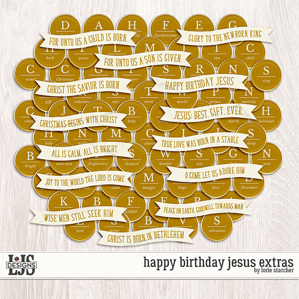 Happy Birthday Jesus Extras Digital Art - Digital Scrapbooking Kits