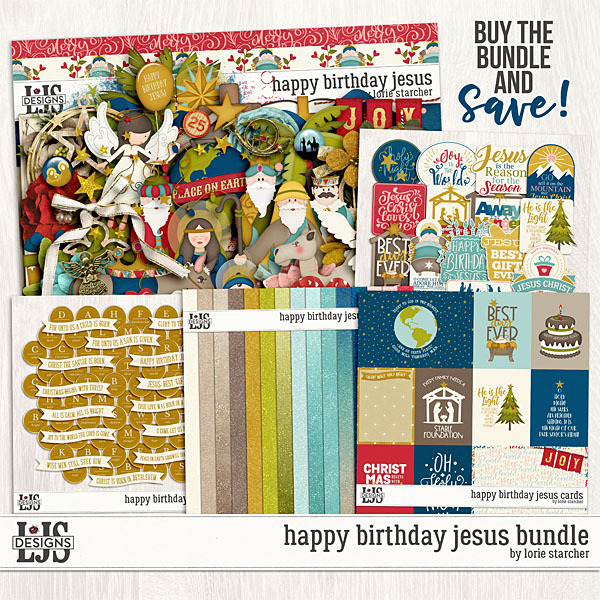 Happy Birthday Jesus Bundle Digital Art - Digital Scrapbooking Kits