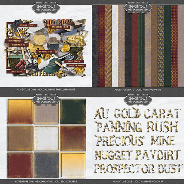 Adventure Days - Gold Hunting Bundle Digital Art - Digital Scrapbooking Kits