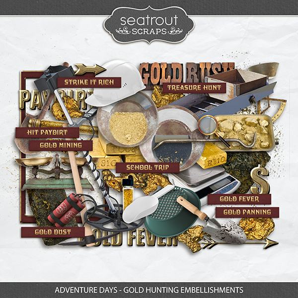 Adventure Days - Gold Hunting Embellishments Digital Art - Digital Scrapbooking Kits