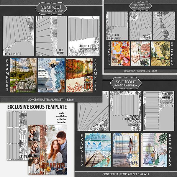 Concertina Templates Bonus Bundle 8.5x11 Digital Art - Digital Scrapbooking Kits
