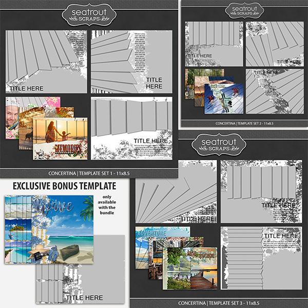 Concertina Templates Bonus Bundle 11x8.5 Digital Art - Digital Scrapbooking Kits