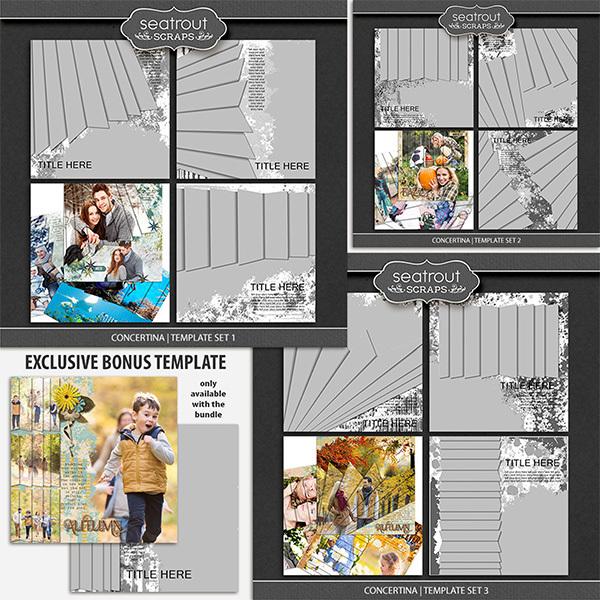Concertina Templates Bonus Bundle 12x12 Digital Art - Digital Scrapbooking Kits
