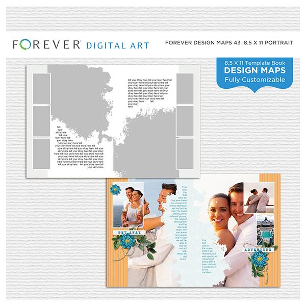 Forever Design Maps 43 - 8.5x11 Digital Art - Digital Scrapbooking Kits