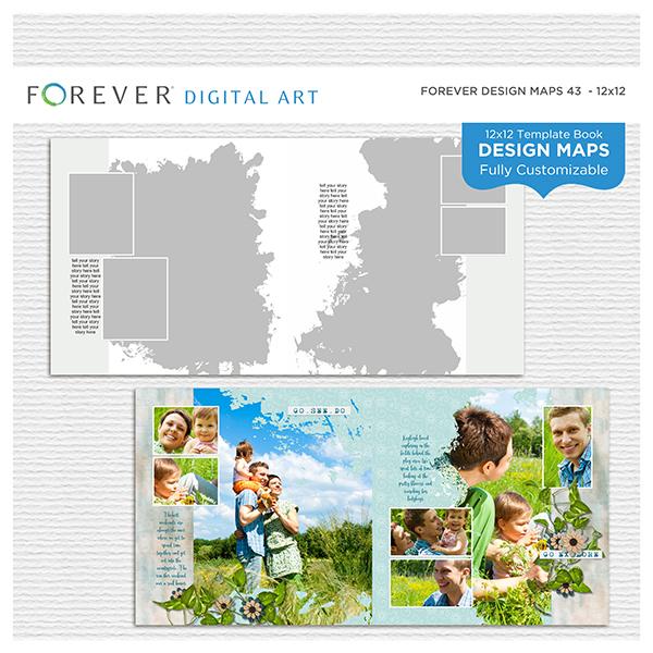 Forever Design Maps 43 - 12x12 Digital Art - Digital Scrapbooking Kits