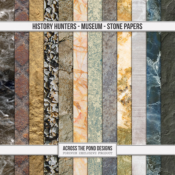 History Hunters - Museum Stone Papers Digital Art - Digital Scrapbooking Kits