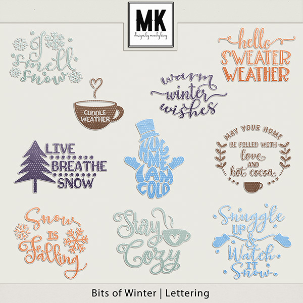 Bits of Winter - Lettering Digital Art - Digital Scrapbooking Kits