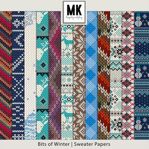 Bits of Winter - Sweater Papers Digital Art - Digital Scrapbooking Kits
