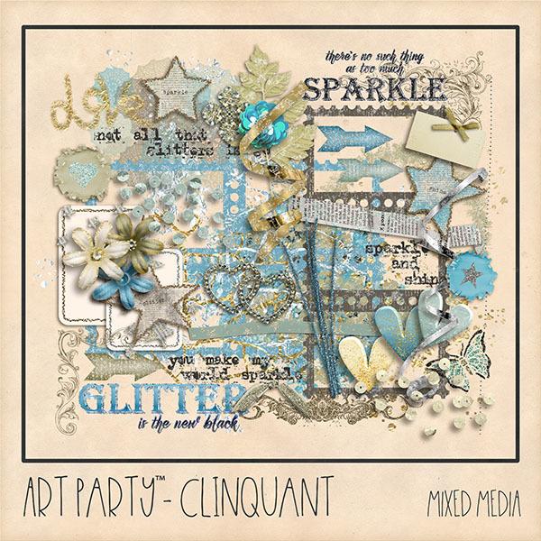 Clinquant Mixed Media Embellishments Digital Art - Digital Scrapbooking Kits