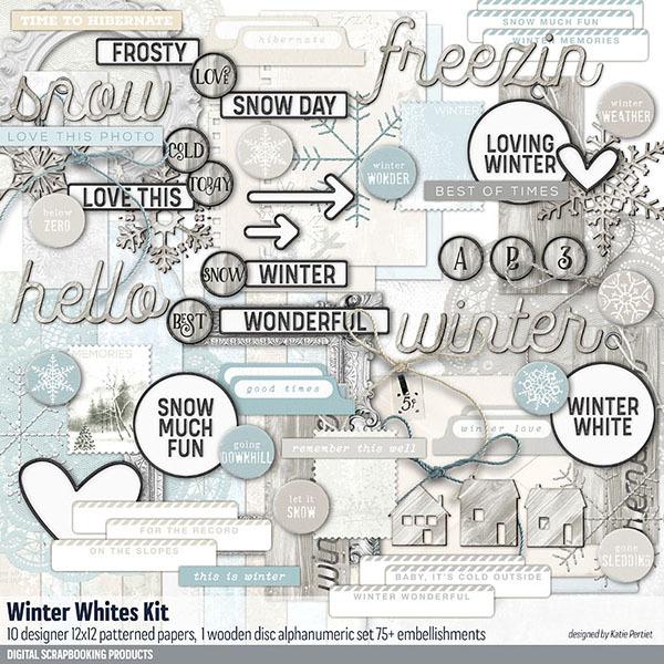 Winter Whites Scrapbook Kit Digital Art - Digital Scrapbooking Kits