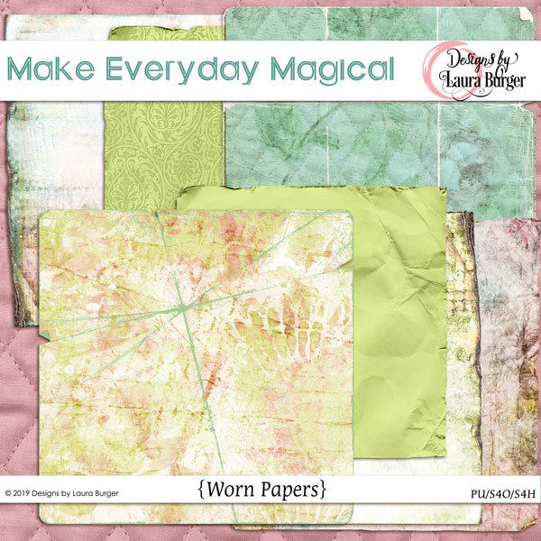 Make Every Day Magical Worn Papers Digital Art - Digital Scrapbooking Kits
