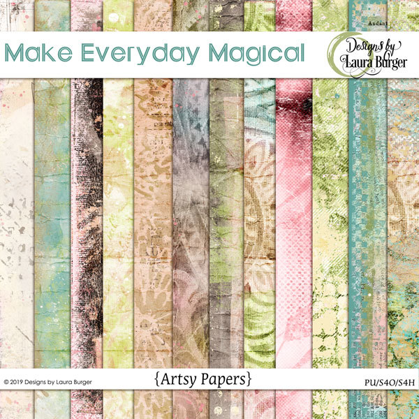 Make Every Day Magical Artsy Papers Digital Art - Digital Scrapbooking Kits