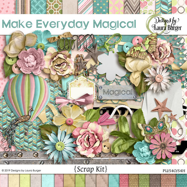 Make Every Day Magical Scrap Kit Digital Art - Digital Scrapbooking Kits