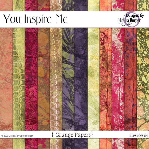 You Inspire Me Grunge Papers Digital Art - Digital Scrapbooking Kits