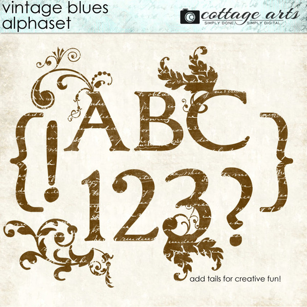 Vintage Blues AlphaSet Digital Art - Digital Scrapbooking Kits