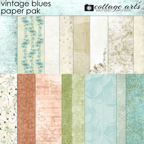 Vintage Blues Paper Pak Digital Art - Digital Scrapbooking Kits