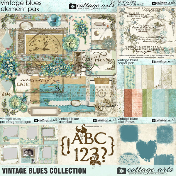 Vintage Blues Collection Digital Art - Digital Scrapbooking Kits