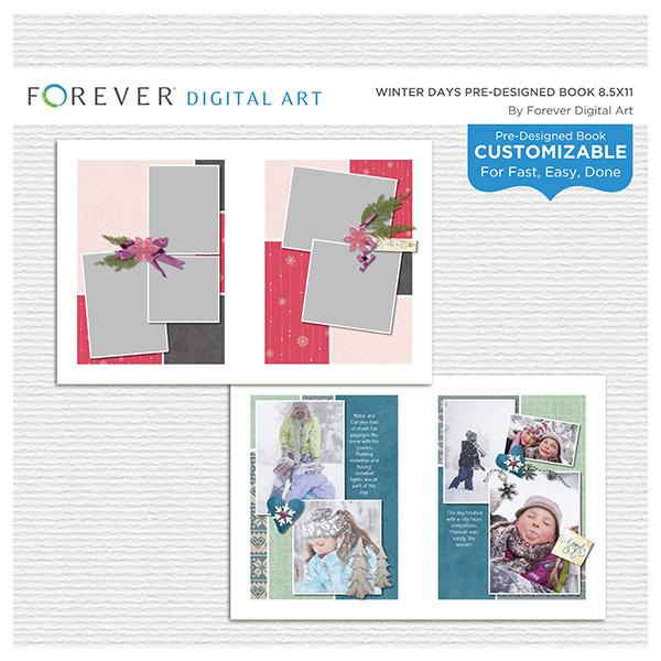 Winter Days Pre-designed Book 8.5x11 Digital Art - Digital Scrapbooking Kits