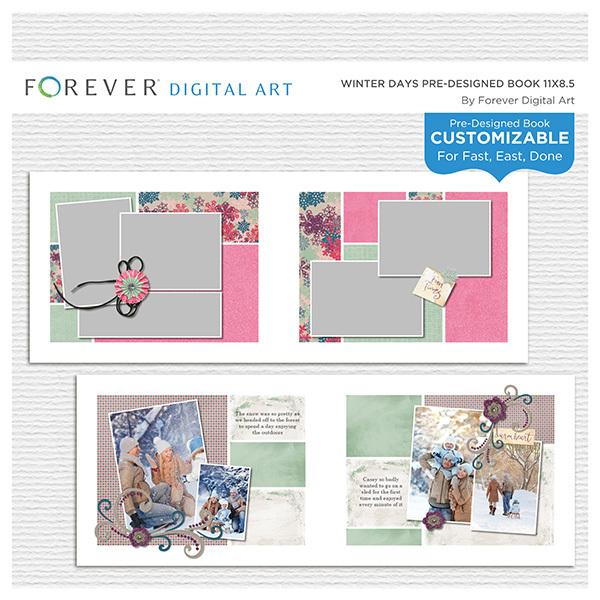 Winter Days Pre-designed Book 11x8.5 Digital Art - Digital Scrapbooking Kits