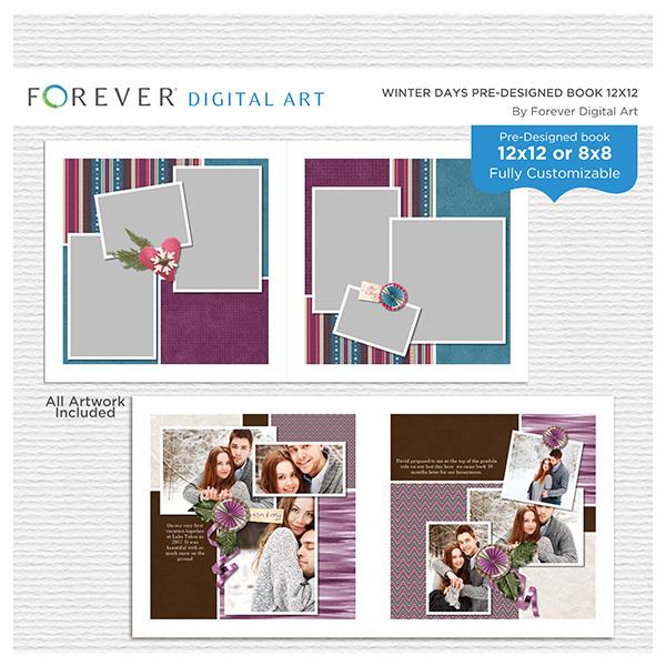 Winter Days Pre-designed Book 12x12 Digital Art - Digital Scrapbooking Kits