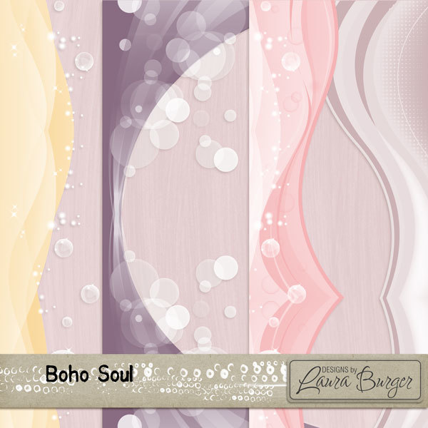Boho Soul Borders Digital Art - Digital Scrapbooking Kits