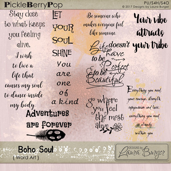 Boho Soul Word Art Digital Art - Digital Scrapbooking Kits