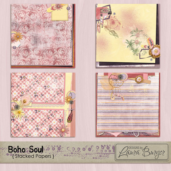 Boho Soul Stacked Papers Digital Art - Digital Scrapbooking Kits