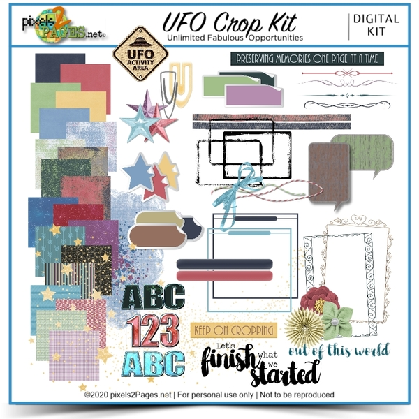 UFO Crop Kit Digital Art - Digital Scrapbooking Kits