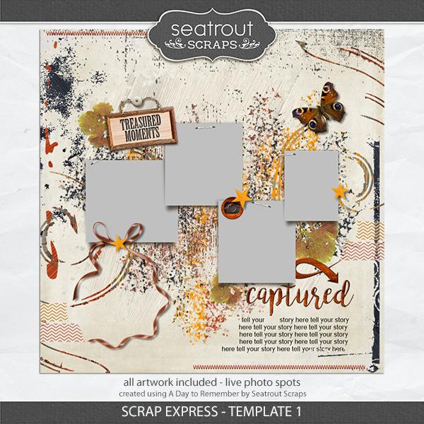 Scrap Express - Template 1 Digital Art - Digital Scrapbooking Kits