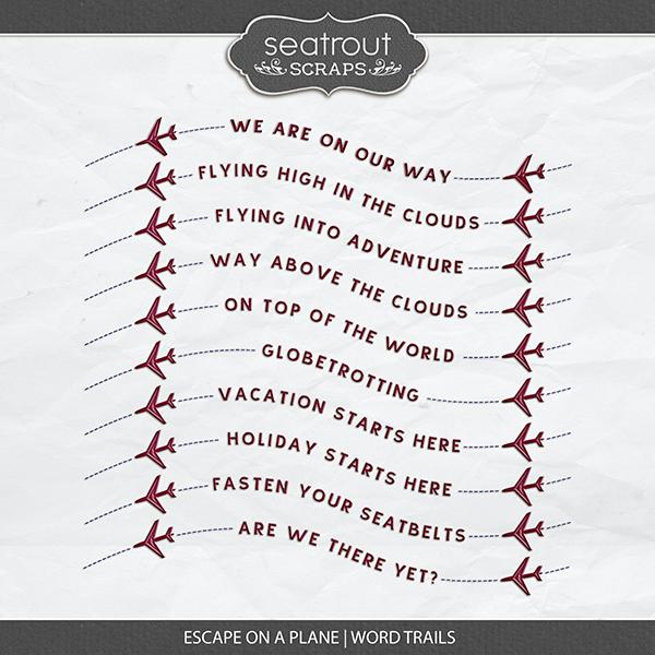 Escape on a Plane Word Trails Digital Art - Digital Scrapbooking Kits